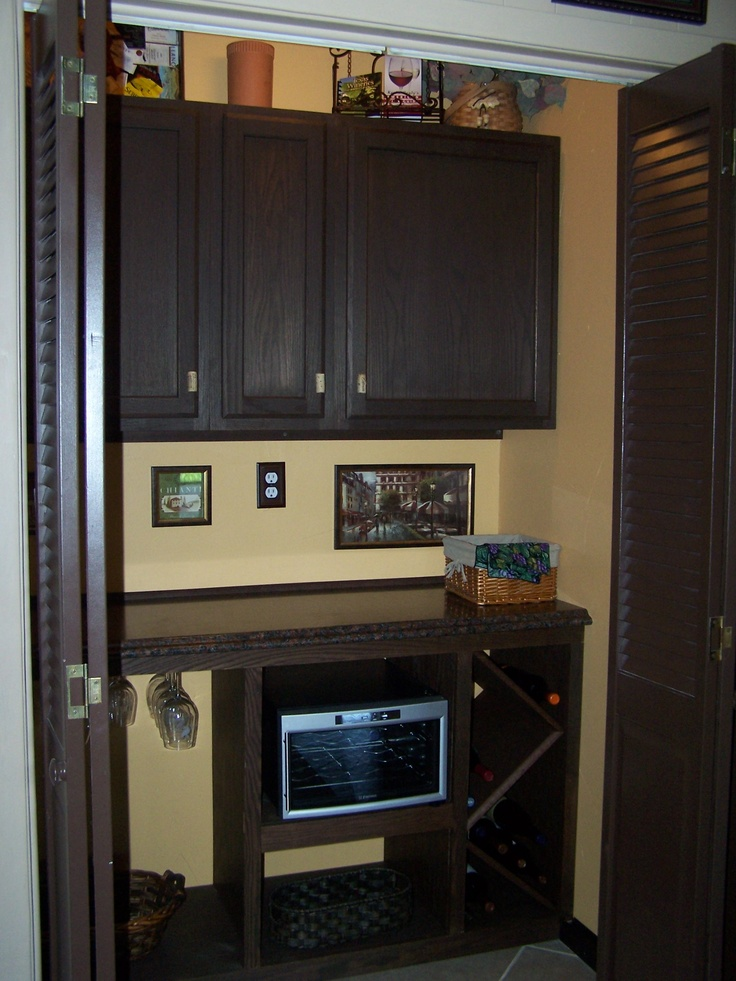 Small Appliance Closet Wine Bar Dining Room Makeover