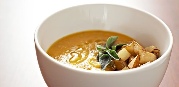 Butternut Squash & Apple Soup - so soothing and warm. The trick to this unforgettable butternut squash soup is the simple addition of a tart green apple to balance the sweetness of the squash. http://www.becel.ca/en/becel/HeartHealthyRecipes/Soups/Butternut-Squash-And-Apple-Soup.aspx