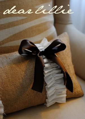 Ribbon and Bow Burlap Pillow by thebrownmoose