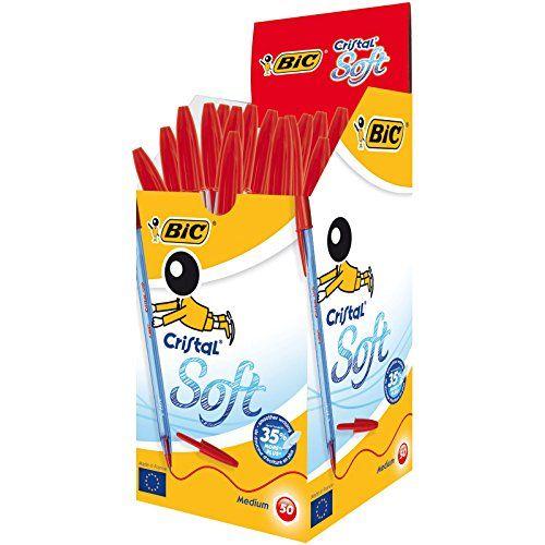 BIC Cristal Soft Stylos-bille - Rouge, Boîte de 50 #Cristal #Soft #Stylos #bille #Rouge, #Boîte