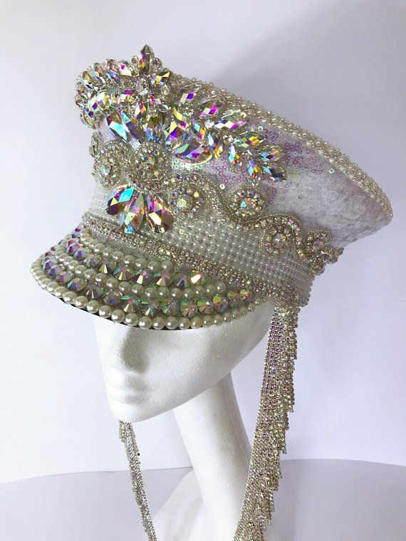 048a5bdce1c Irridescent White Sequin + Silver AB Diamante Crystal Festival Military  Captains Marching Band Hat. Burning Man Bridal Bride Costume