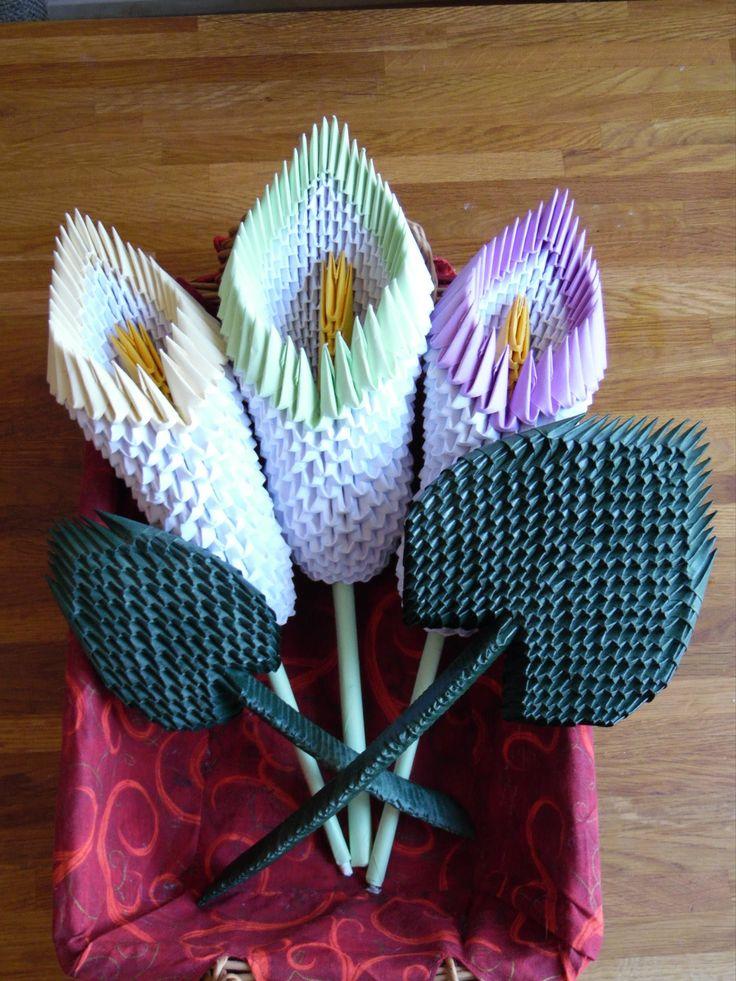 In dit filmpje laat ik zien hoe een 3d origami kelk met blad in elkaar gezet word.
