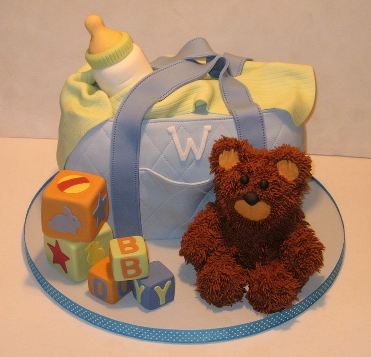 Blue Diaper Bag - Diaper bag for a baby shower.  The bear was made of RKT and covered in buttercream fur.