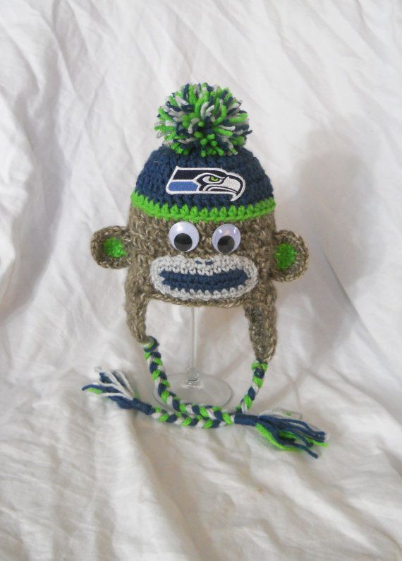 Seattle Seahawks Football Inspired Crochet Baby Sock Monkey Hat With Embroidered Logo - 0-3 Months, 3-6 months, 6-12 Month Size on Etsy, $32.99