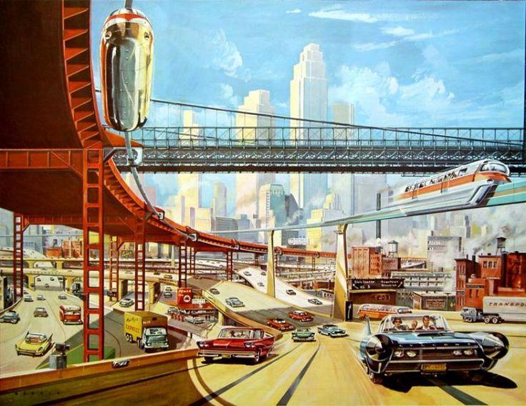 Das Neue Universum 76, 1959Der Verkehr der Zukunft wird in Etagen laufen. Pulsadern gleich durchziehen mehrgeschossige Autobahnen das Herz der Weltstadt. Auf diesen Hoch-Schnellstraßen flutet in vier oder fünf Ebenen der Fahrzeugstrom durch die Riesencity. Auf- und Abfahrtsrampen lenken ihn kreuzungsfrei auf achtspurige Fahrbahnen, wo Leitkabel die Autos elektronisch steuern. Gegenverkehr gehört der Vergangenheit an, und die Lichtsignalanlagen sind überflüssig geworden. E