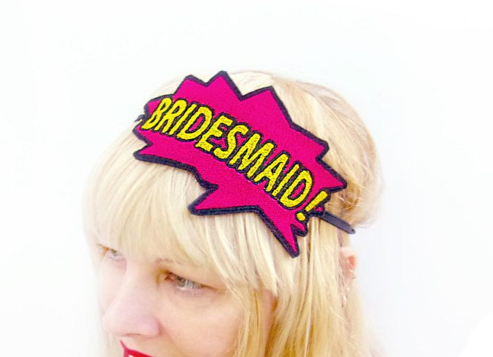 Superhero Wedding - Gifts For Bridesmaids - Bridal Party Gifts - Unique Bridesmaid gifts - Bridesmaid Presents - Bridesmaid Headband by KawaiiHairCandy on Etsy