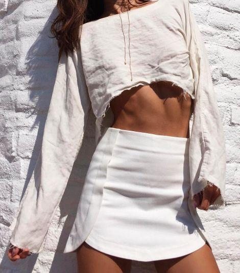 crop tops + mini skirts