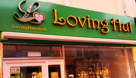 Loving Hut: International chain of vegan restaurants. London branches in Edgware and Archway, and some very nice branches in Brighton and Norwich as well.