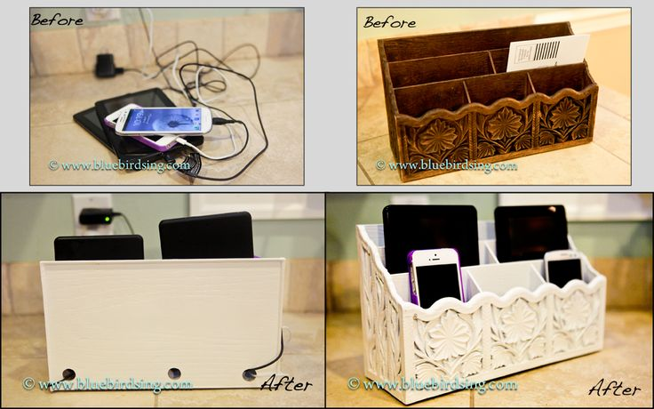 A cell phone charging station from an old letter holder.