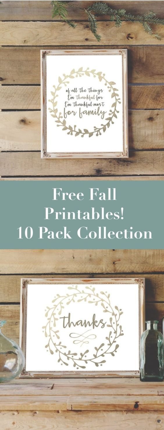Nab this amazing 10 pack collection of free fall printables for easy DIY farmhouse style decor.