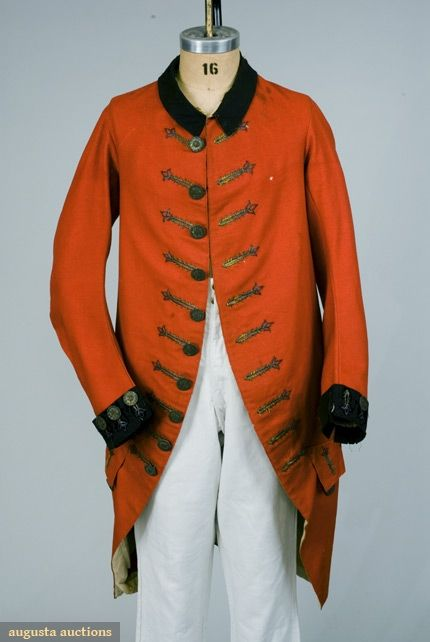 American Revolution era 1765-1780 gent's English red coat from the Tasha Tudor Collection auctioned in 2007.
