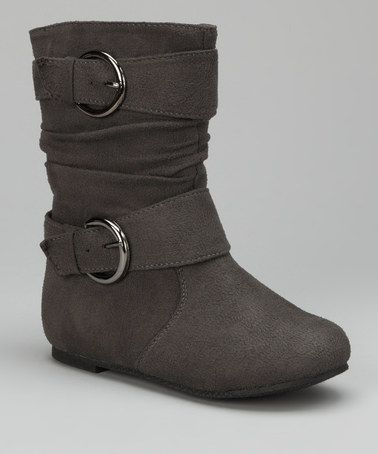 Take a look at this Gray Double-Buckle Boot by Fashionable Footprints: Girls' Boots on #zulily today!