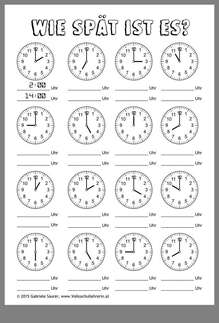 Schule   Kochen   Kochen schule   Time worksheets, First grade ...