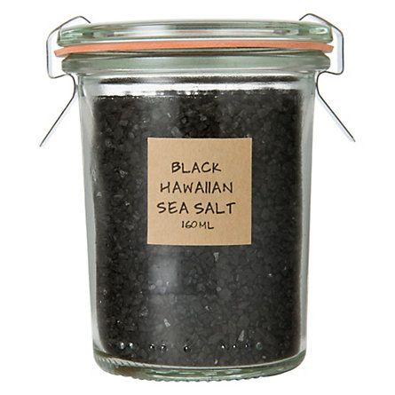 Black Hawaiian Sea Salt - Evaporated from above-ground pools formed from centuries of lava flow, this Pacific sea salt is mixed with activated charcoal for a soft, smoky flavor. Charcoal is added for the health benefit of its natural detoxifying effects and makes a nice addition to salads, vegetables, and meats.