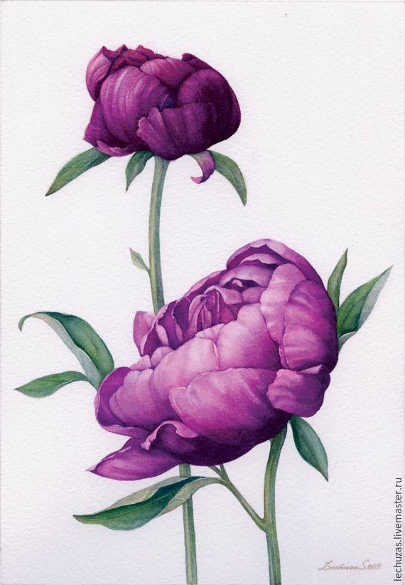Violet Peonies. Traditional art ( watercolor). Prof. paper: Fonteney 300 g/м2 (cotton). Svetlana Markina (LechuzaS) Size: 18cm*26cm