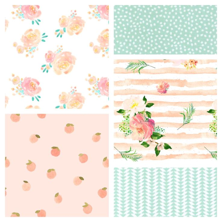 Beautiful new patchwork blanket combination - roses and peaches in shades of blush, peach and mint green. Beautiful baby girl cot bedding. Matching bumpers, storage baskets and more available on request.