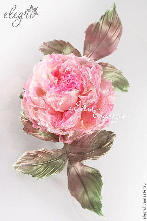 Броши ручной работы. Ярмарка Мастеров - ручная работа ЦВЕТЫ ИЗ ТКАНИ. Роза-брошь Elle. Handmade.