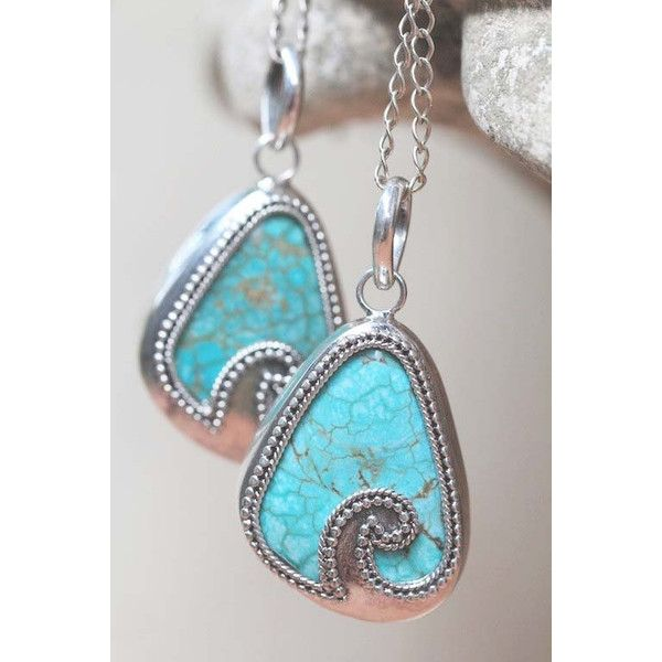 Turquoise, Necklace, Turquoise Jewelry, Pendant, Fashion, Free... ($75) ❤ liked on Polyvore featuring jewelry, boho chic jewelry, engraved jewelry, beach jewelry, pendant jewelry and bohemian jewelry