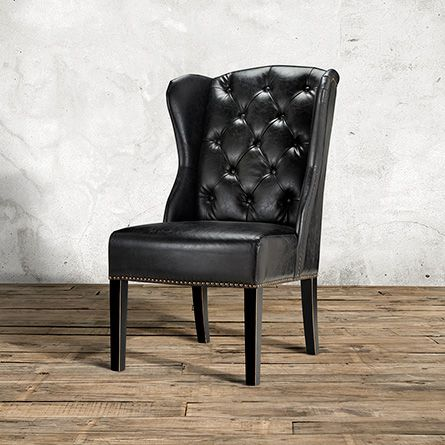 greyson tufted dining side chair in black faux leather and black
