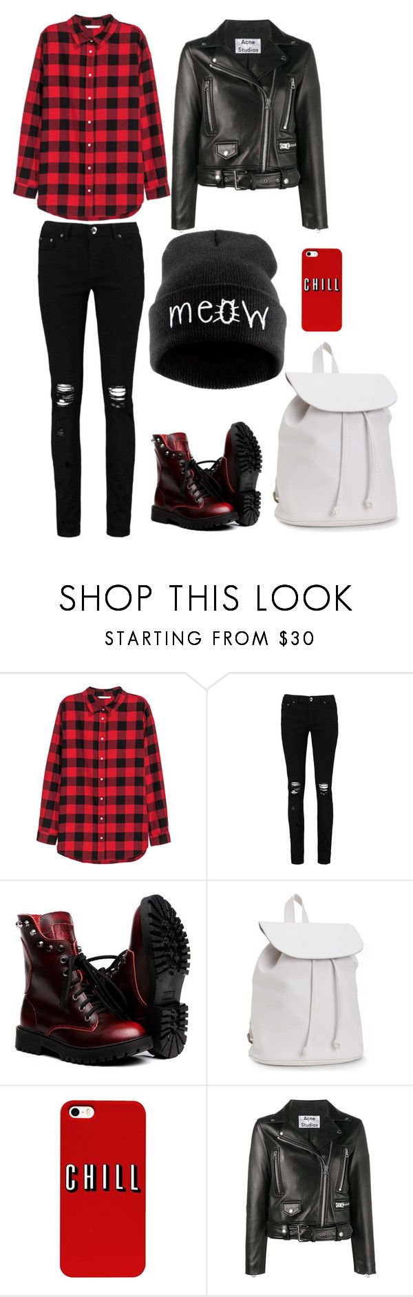 Red plaid and leather jacket outfit by jellyray on Polyvore featuring H&M, Acne Studios, Boohoo and Aéropostale