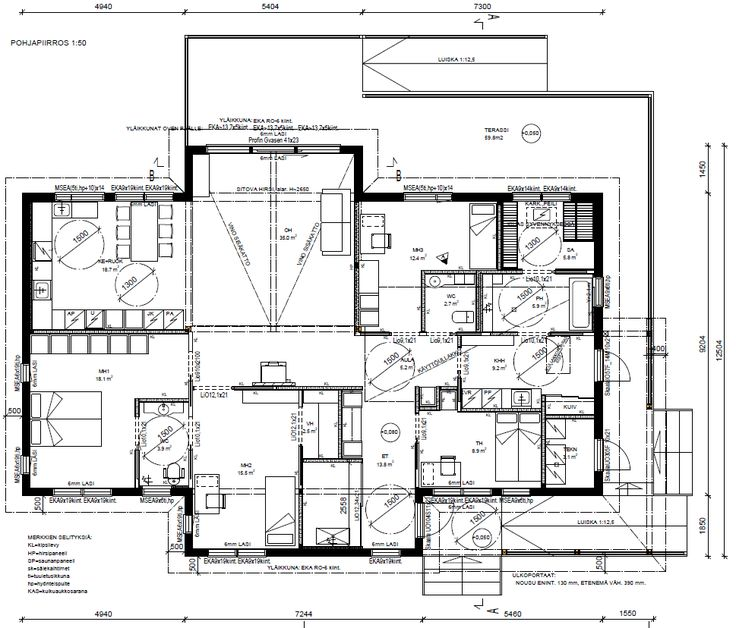 Wheelchair accessible floor plan, house plan, pohjapiirros esteetön talo