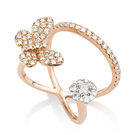 Butterfly diamond ring 18k gold butterfly ring Double ring