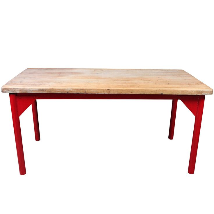 Butcher Block Restaurant Prep Table with Painted Metal Legs | From a unique collection of antique and modern industrial and work tables at https://www.1stdibs.com/furniture/tables/industrial-work-tables/