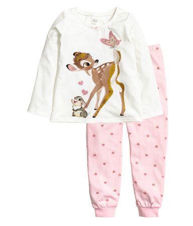Trikotpyjamas | Hvit/Bambi | Barn | H&M NO