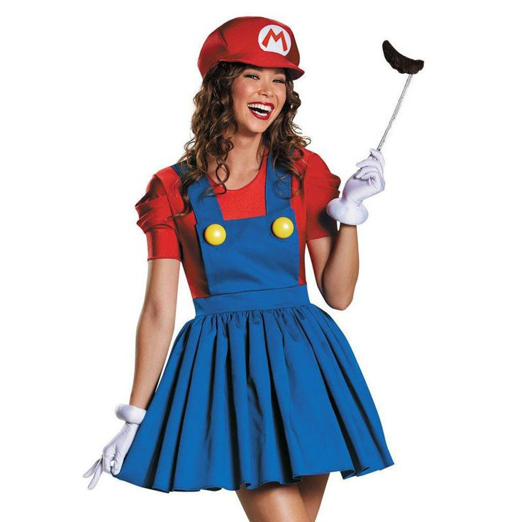 Super Mario Women Dress Home Maid Dress With Hat Beard Super Mario And Luigi Couple Workman Costume Party Fancy Dress Cosplay Alternative Measures