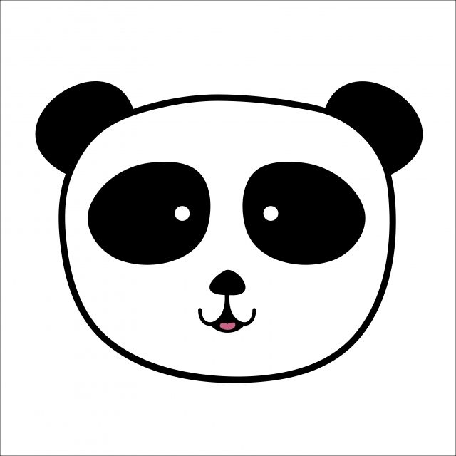 Panda Bear Clipart Black And White Black And White Png And Vector With Transparent Background For Free Download Black Background Photography Black And White Background Animal Silhouette