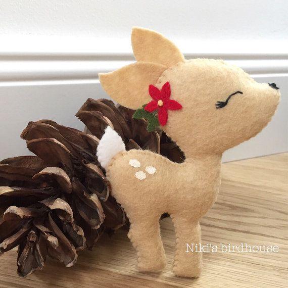 Christmas fawn  deer decor  nursery decor  by NikisBirdhouse