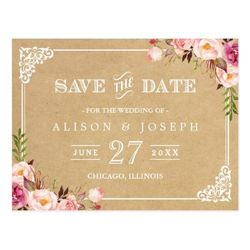 Great Country Wedding Save the Date Elegant Floral Frame Kraft Wedding Save the Date Postcard