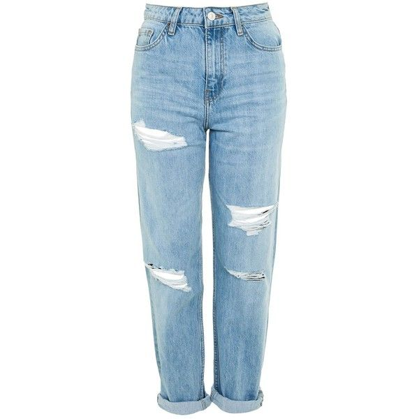 Topshop Moto High Waist Ripped Boyfriend Jeans (€52) ❤ liked on Polyvore featuring jeans, pants, bottoms, calças, topshop, bleach, boyfriend jeans, destroyed boyfriend jeans, high waisted distressed jeans and high-waisted boyfriend jeans