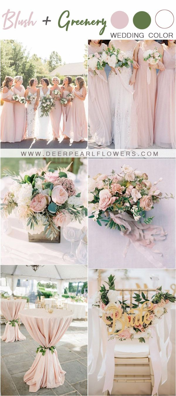 Blush And Greenery Wedding Color Themes And Ideas Wedidng Weddingideas Weddingcolors Deerpearlflowers Wedding Theme Colors Greenery Wedding Wedding Colors