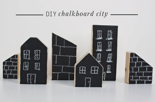 "Use leftover chalk board paint and pieces of 2 by 4's to create this ever changing city also totally goes with Van Gogh's ""Stary Night"""