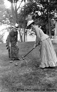Women playing croquet at summer home of Jay Cooke, Gibraltar Island, Lake EriePlays Croquet, Erie Ohio, Gibraltar Islands, Dep, Jay Cooking, Black White, Victorian Era, Lake Erie, Lakes Erie