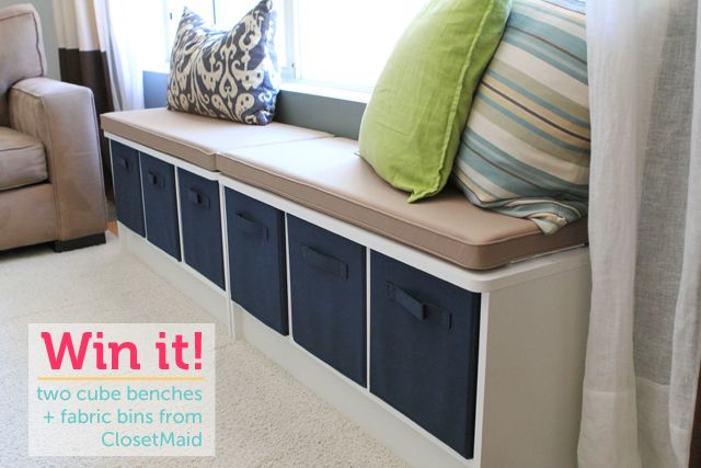 closetmaid bench organizers- I like the idea of putting two together. Would be great in the school room for extra seating and storage!