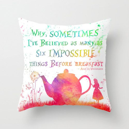 Alice In Wonderland Pillow Cover Watercolor by ShayItWithLove