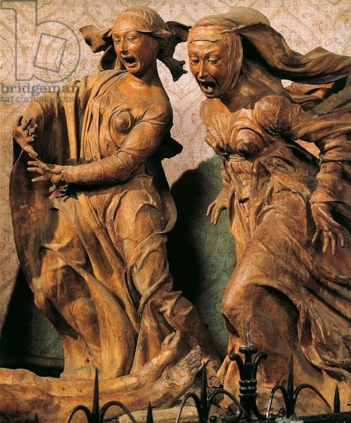 Mangled Marie, figures from Lamentation over Death Christ, 1463-1490, by Niccolo dell'Arca (d, 1494), group of terracotta sculptures, Santa Maria della Vita Sanctuary, Bologna, Emilia-Romagna, Italy, 15th century