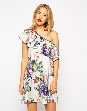 ASOS Scuba Swing Dress in Floral Print with Ruffle One Shoulder
