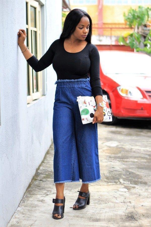 Denim Culottes                            http://epiphany29.com/denim-culottes-bodysuits-quirky-purses/