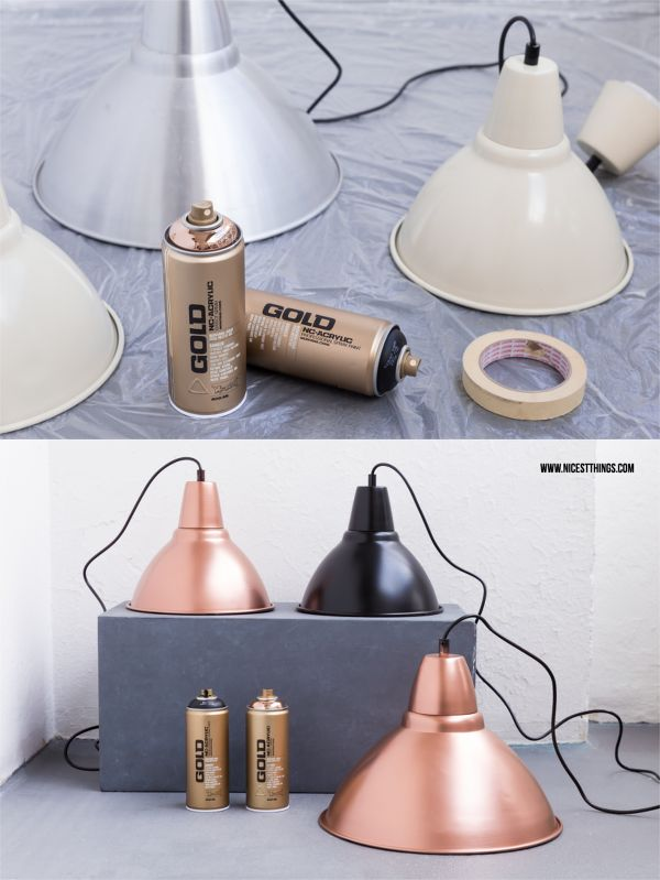 DIY Lampen Mit Sprhfarbe In Kupfer Lackieren