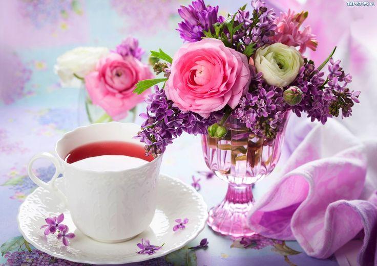 Bukiet Kwiatów, Filiżanka, Fioletowa, Kompozycja