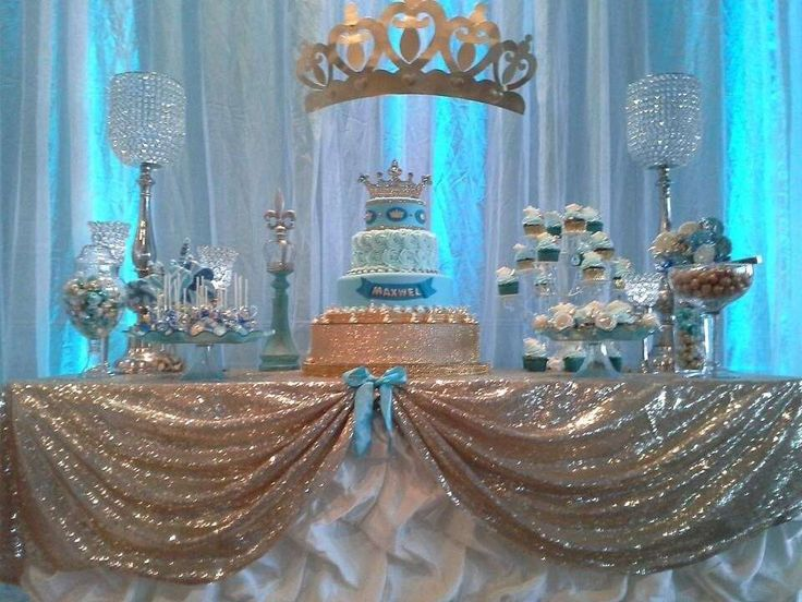 Prince baby shower party blue and gold dessert table! See more party planning ideas at CatchMyParty.com!
