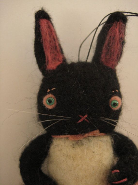 needle felted black bunny ornament by maria pahls...which was lost in the mail...