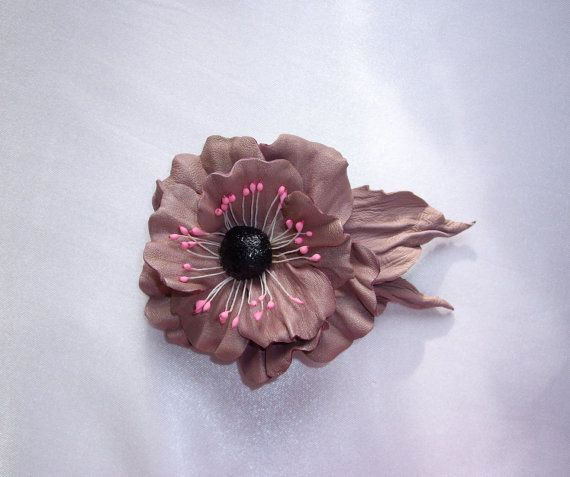 Leather Flower Brooch Rose Flower Brooch Pink Leather by Elwelry
