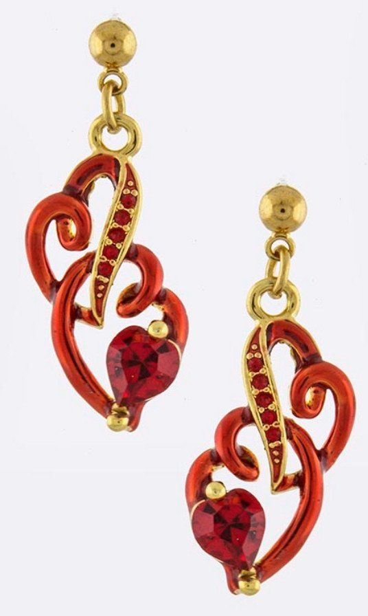 Intertwined Red and Gold Heart Drop Earrings