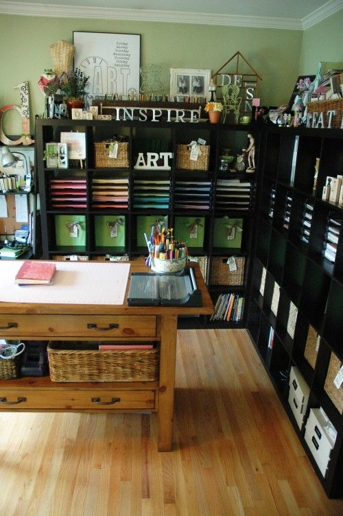 Room Inspiration: Large, shelving units are perfect to keep all your craft supplies neat and tidy. Idea by http://fabuloushomeblog.com/?p=7477