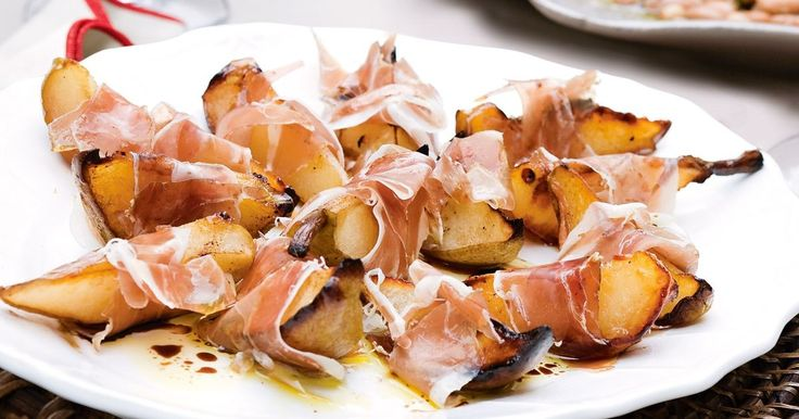 Paper-thin prosciutto is wrapped around sugar-roasted pears for an irresistible and impressive-looking starter that's super-healthy, too.