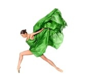 Dancers : ballet dancer in the flying jump into the tissues isolated on white background Stock Photo
